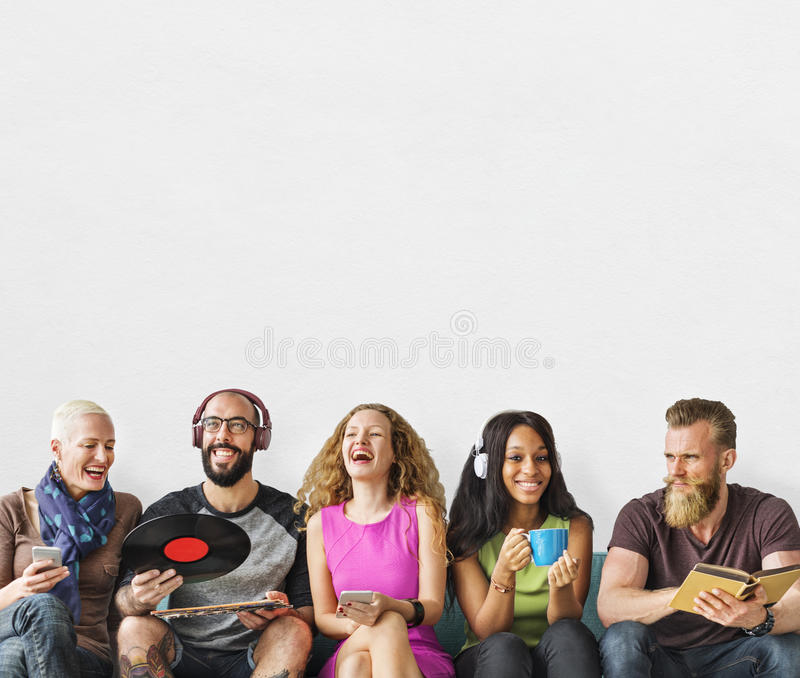 Diverse People Community Togetherness Technology Music Concept royalty free stock photography