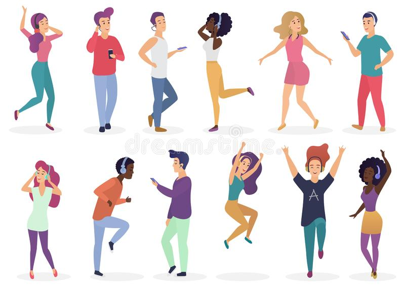 Diverse people dancing and listening music with headphones. Cartoon young guys and girls in casual clothes with audio stock illustration