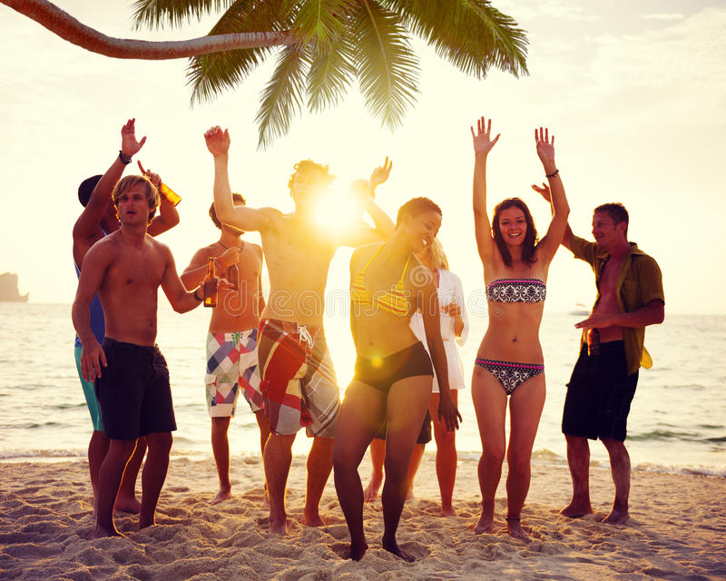 Download Diverse People Dancing And Partying On A Tropical Beach Stock Photo - Image: 41260974