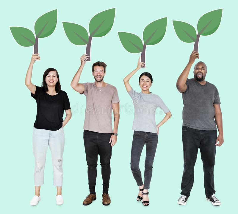 Diverse people with environmental conservation stock photography