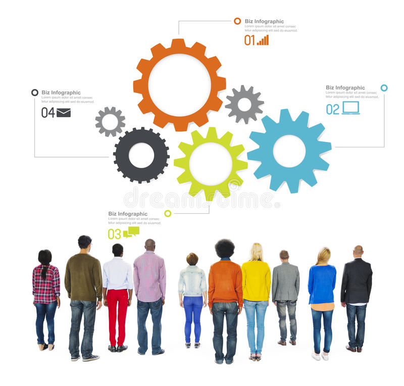 Diverse People Facing Backwards with Business Infographic. Multiethnic Diverse People Facing Backwards with Business Infographic royalty free stock photography