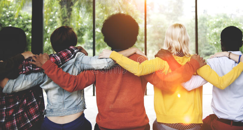 Diverse People Friendship Togetherness Connection Rear Concept stock photography