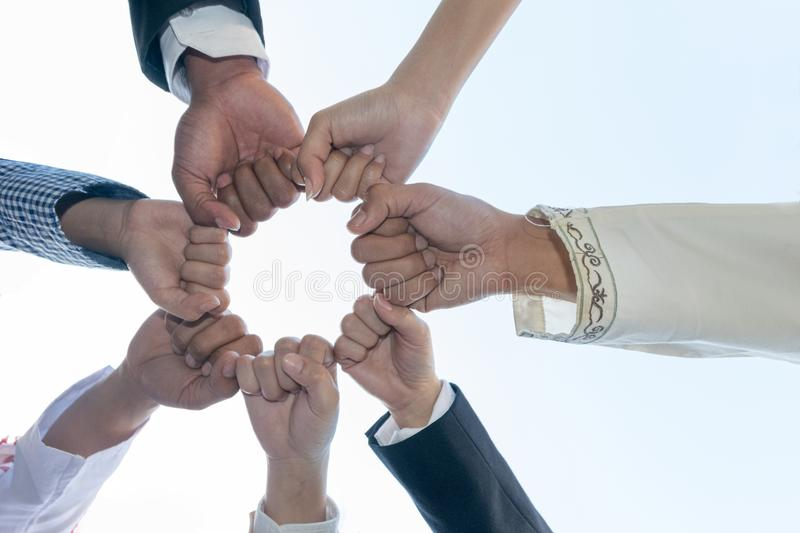 Diverse People Hands Fists Together Partnership.  royalty free stock image