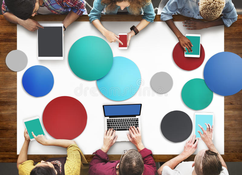 Diverse People Hands Team Busy Devices Concept.  royalty free stock images