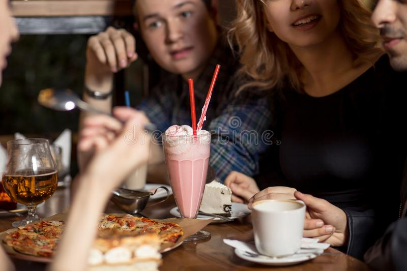 Diverse People Hang Out Pub Friendship. People Meeting Friendship Togetherness Coffee Shop Concept stock photo