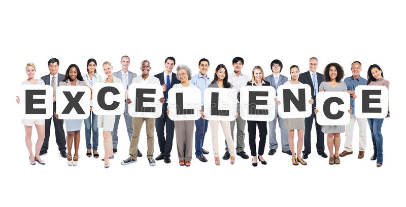 Diverse People Holding Excellence stock image