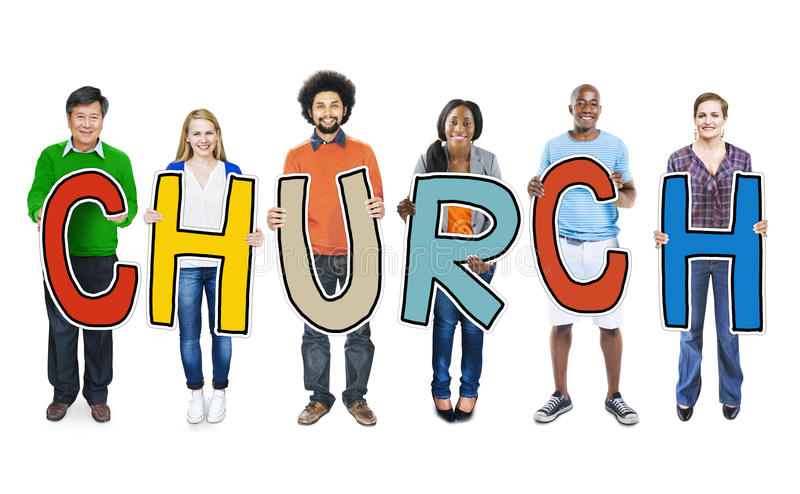 DIverse People Holding Text Church Concept stock image