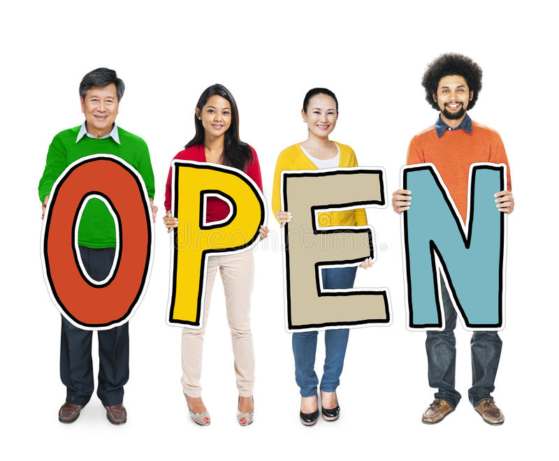 Diverse People Holding Text Open royalty free stock images