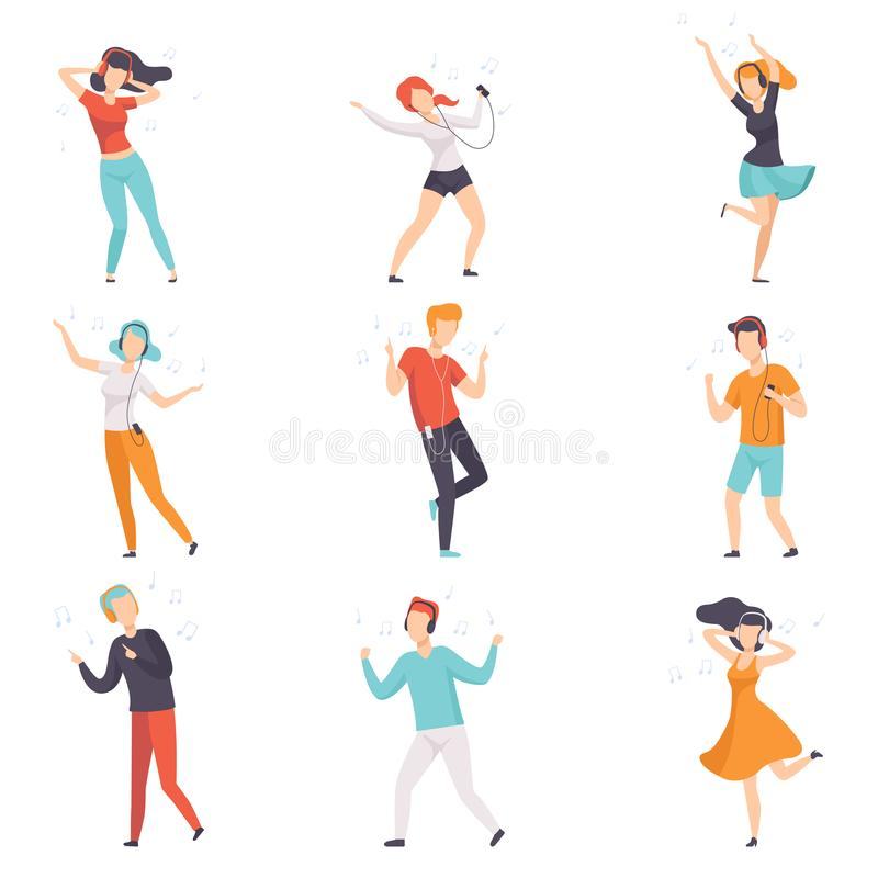 Diverse people listening music with headphones and dancing set, young faceless guys and girls in casual clothes with vector illustration