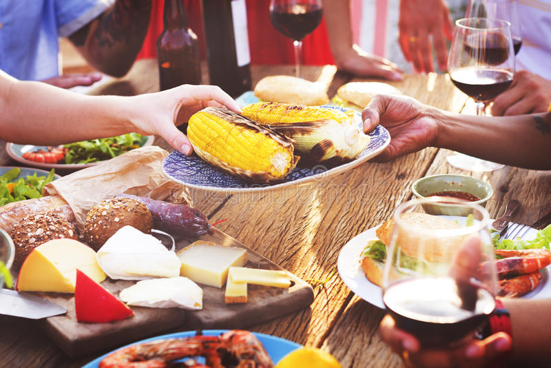 Diverse People Luncheon Food Sharing Concept stock photography