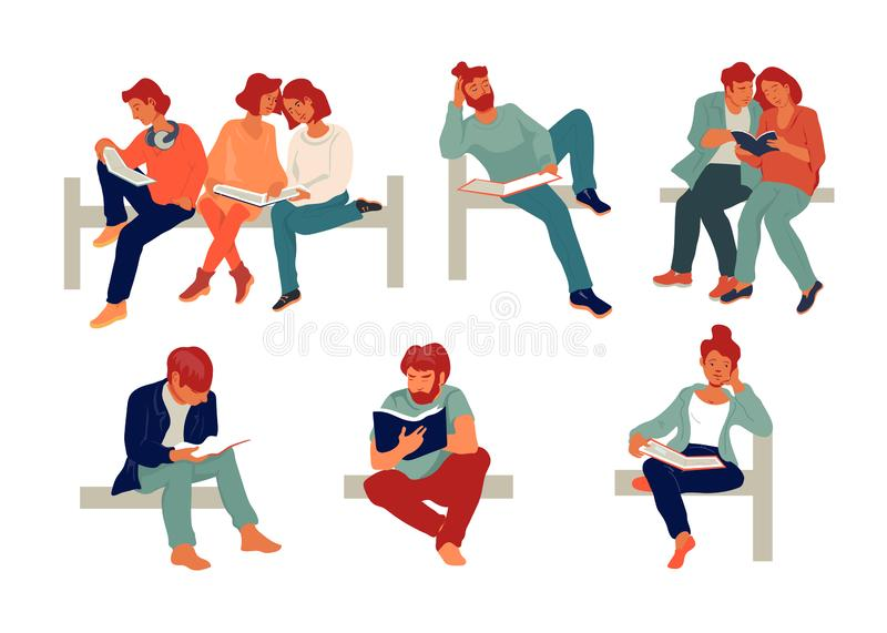 People reading books and studying set of flat vector illustration isolated. vector illustration