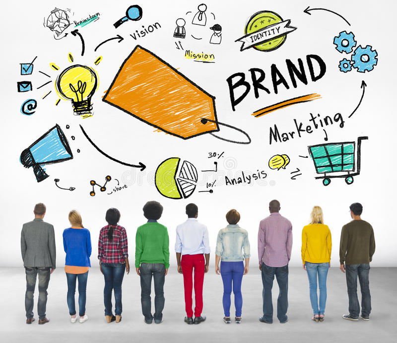 Diverse People Rear View Marketing Brand Concept.  stock images