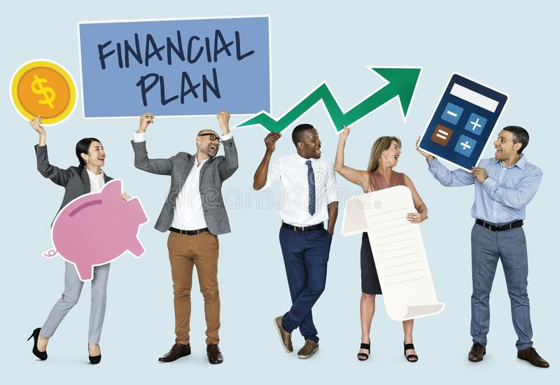Diverse people showing financial plan icons royalty free stock images