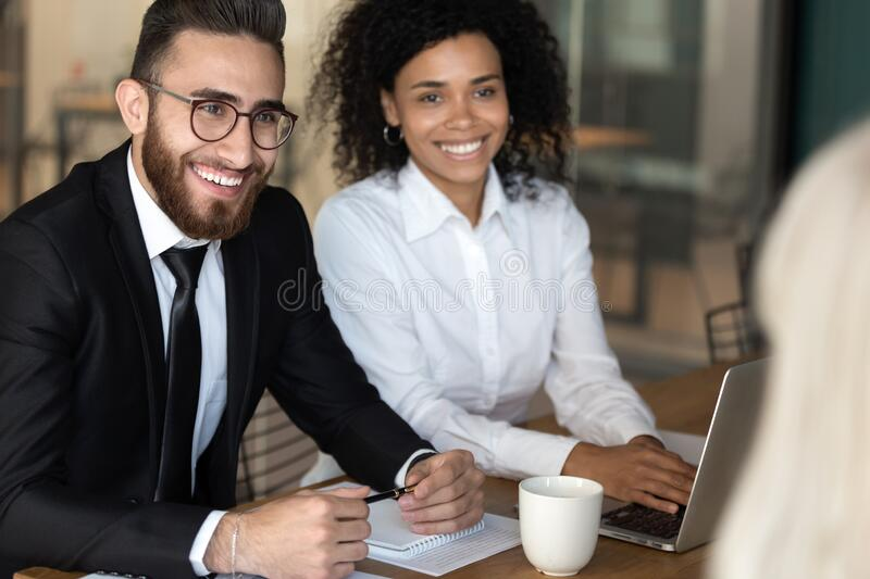 Diverse people negotiating focus on team leader arab businessman royalty free stock photo