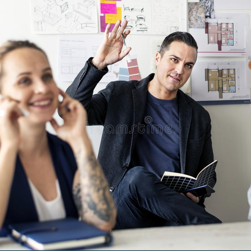 Diverse people in startup business meeting royalty free stock photography