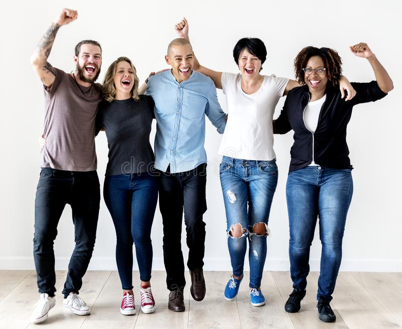 Diverse people with teamwork concept stock image