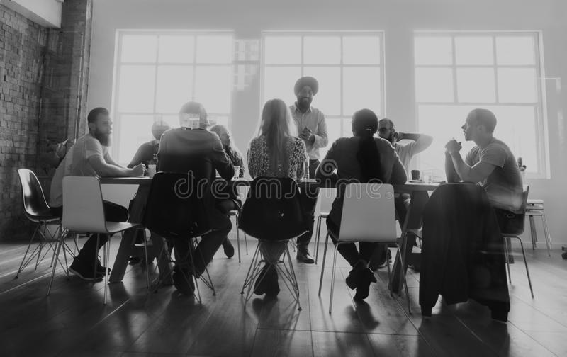 Diverse people teamwork on meeting table royalty free stock images