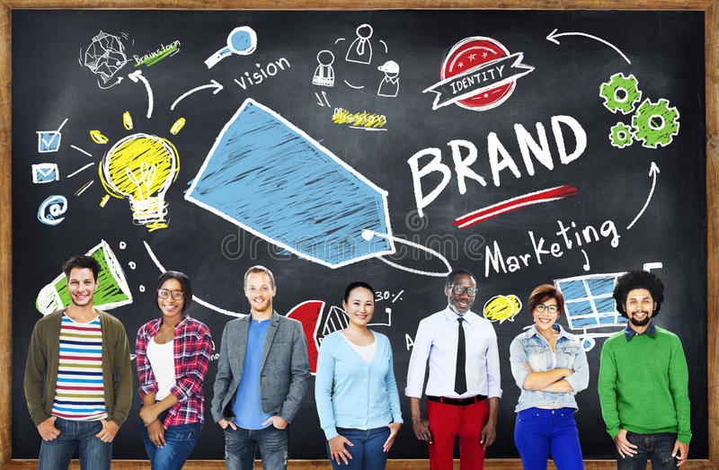 Diverse People Togetherness Team Marketing Brand Concept.  stock photography