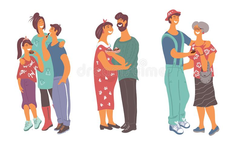 Diverse people treat each other with chocolate vector illustration. Diverse people - mother and children, a couple in love, a man and granny treat each other stock illustration