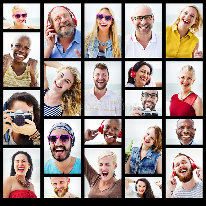 Diverse People Variation Portraits Summer Concept stock images