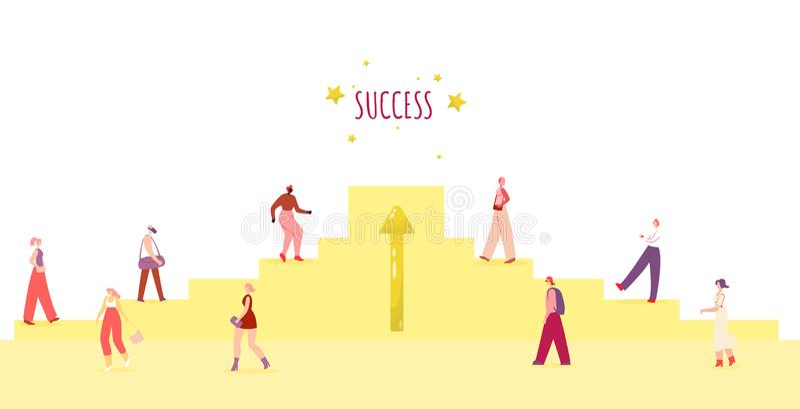 Diverse People Walking Metaphor Success Poster vector illustration