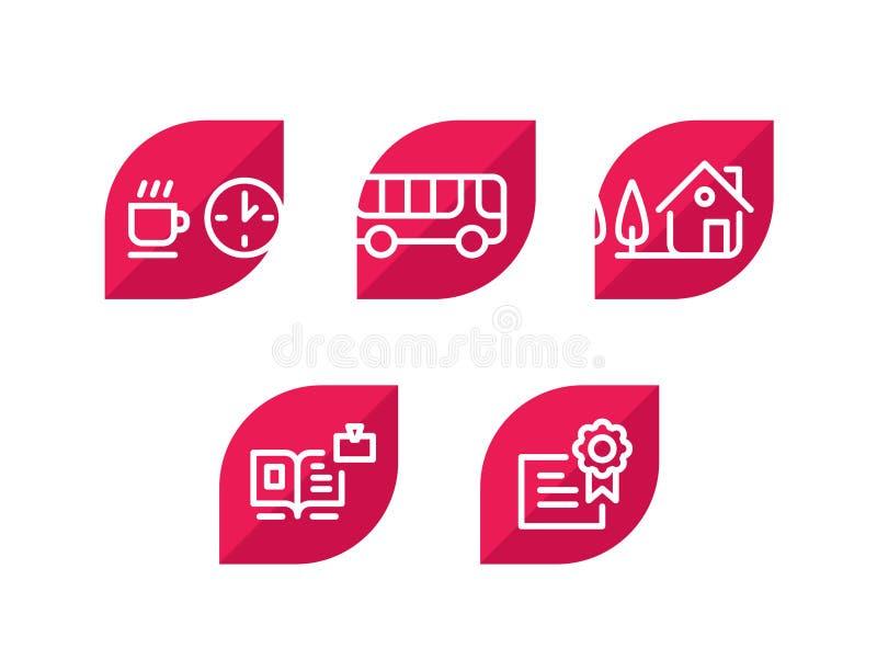 Diverse Pictogrammen Reeks pictogrammen 5 verbazende pictogrammen voor de plaats en het project Teken, embleem, embleem voor het  royalty-vrije illustratie