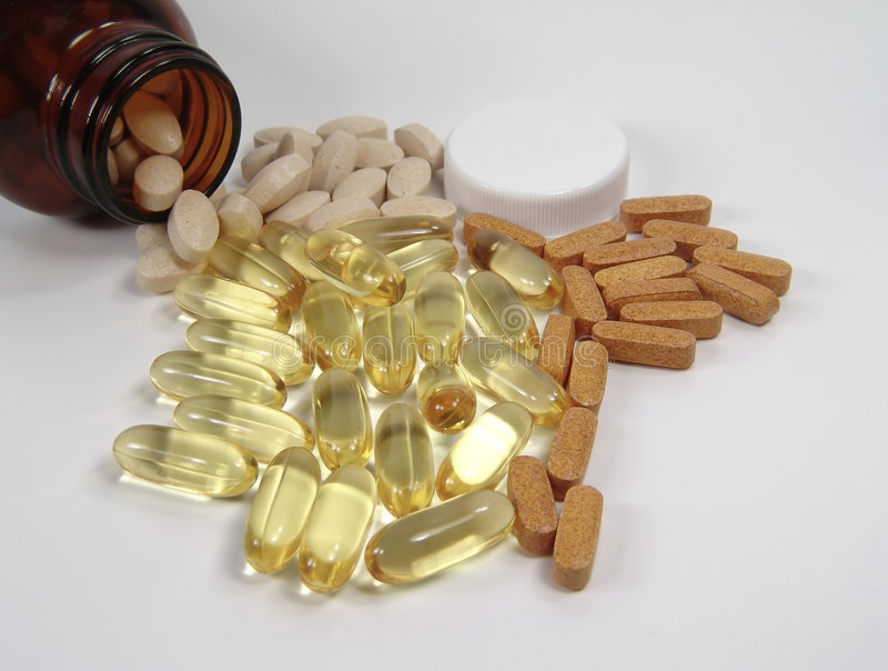 Diverse Pillen en Fles royalty-vrije stock foto