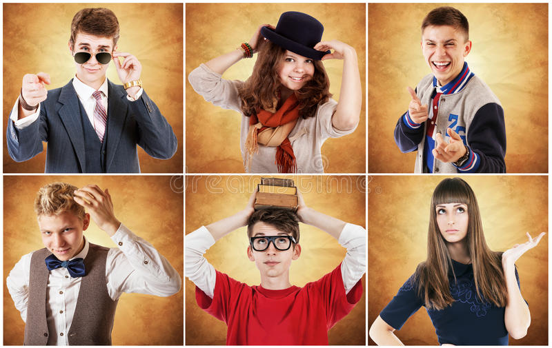 Diverse portraits of young people. I want to be a .... stock photo