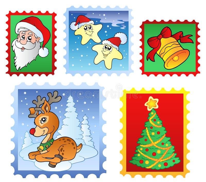 Diverse postzegels 1 van Kerstmis stock illustratie