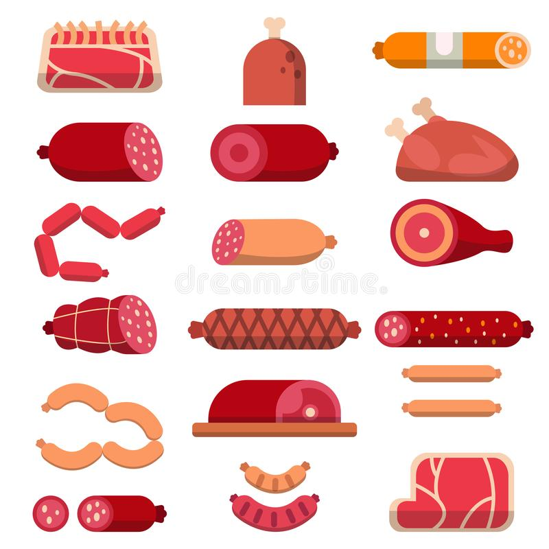 Diverse producten van slagerij Vector vlakke illustraties van vlees royalty-vrije illustratie