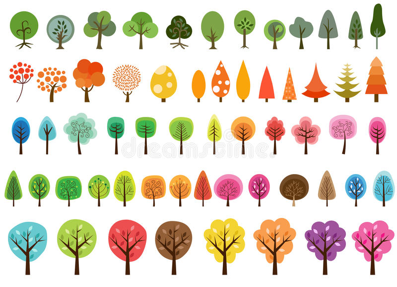 Diverse reeks vectorbomen vector illustratie