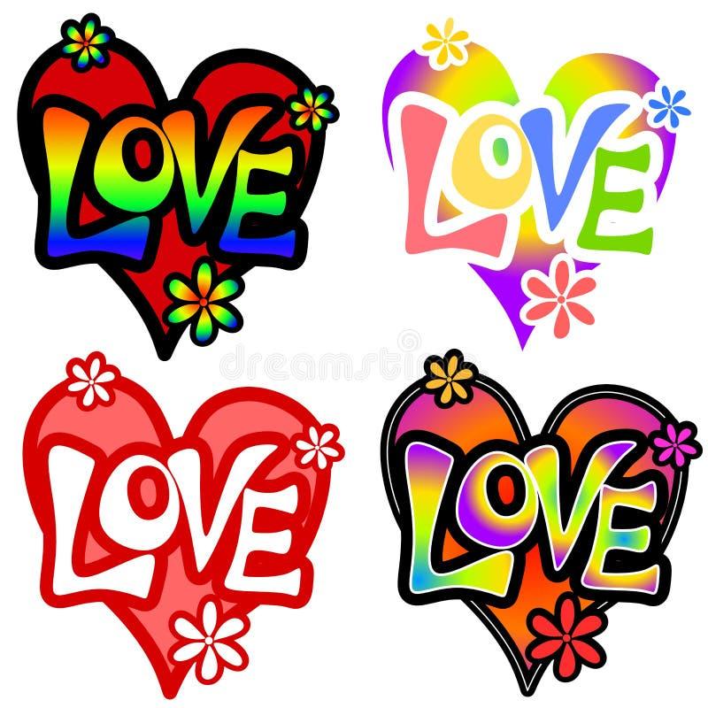 Diverse Retro Harten 2 van de Valentijnskaart van de Liefde vector illustratie