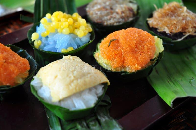 Diverse saveur de dessert thaïlandais de riz collant photo libre de droits