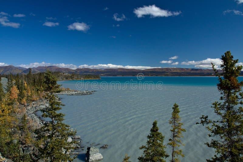 Diverse schaduwen van blauwgroen bij het gletsjer gevoede Kluane-Meer royalty-vrije stock afbeeldingen