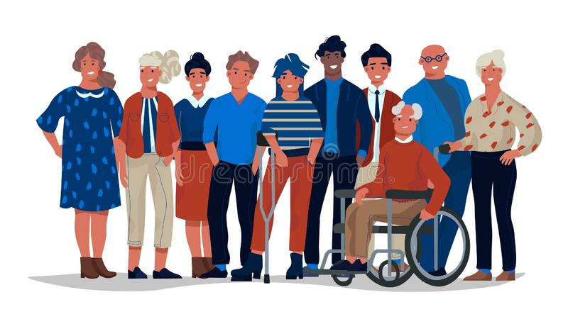 Diverse society people. Group of different multiracial and multicultural people standing together. Vector casual men and vector illustration
