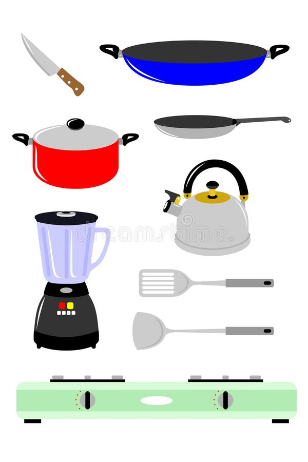 Diverse soorten materiaal om te koken royalty-vrije illustratie