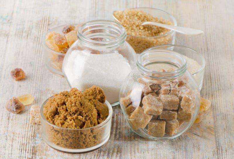 Diverse soorten suiker stock foto