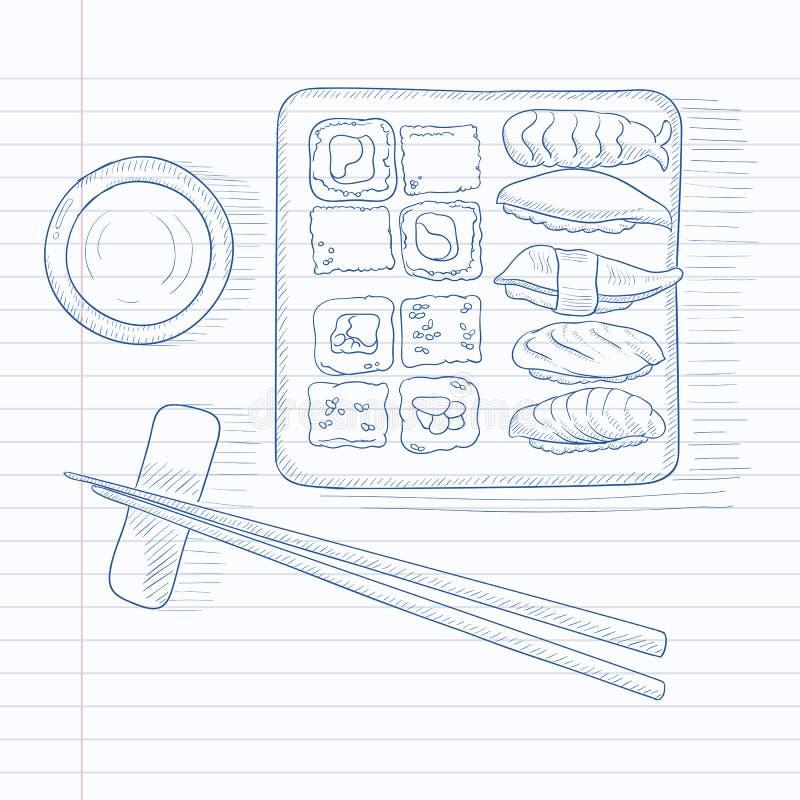 Diverse soorten sushi vector illustratie