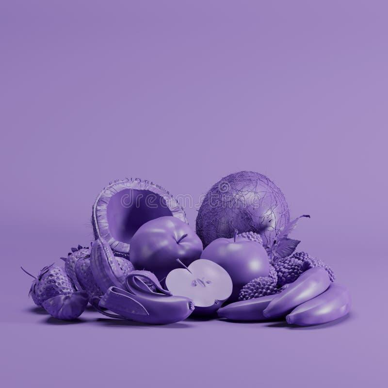 Diverse soorten vruchten in violette kleur op violette achtergrond stock illustratie