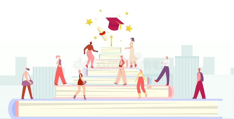 Diverse Students Group Walking Education Stairs. Metaphor Success Studding Poster. Achievement, Personal Advancement, Growth. Stars, Credential and Graduate royalty free illustration