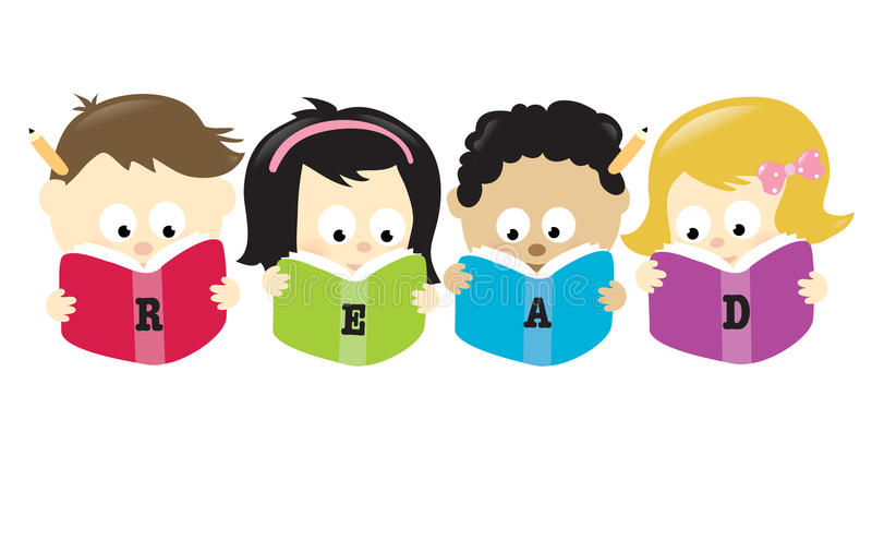 Diverse students reading books royalty free illustration