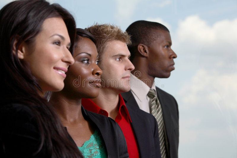 Diverse Team All Looking Right Royalty Free Stock Images