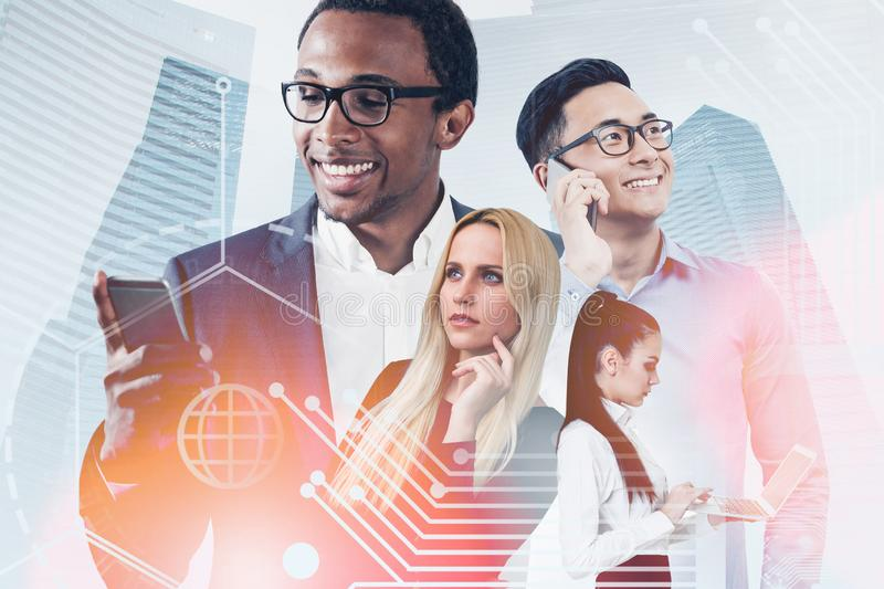 Diverse team in city, business interface stock image