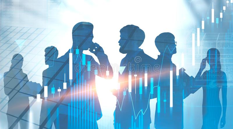 Diverse team of traders in city, forex graphs royalty free stock photography