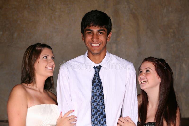 Diverse Teens Flirting Stock Photography