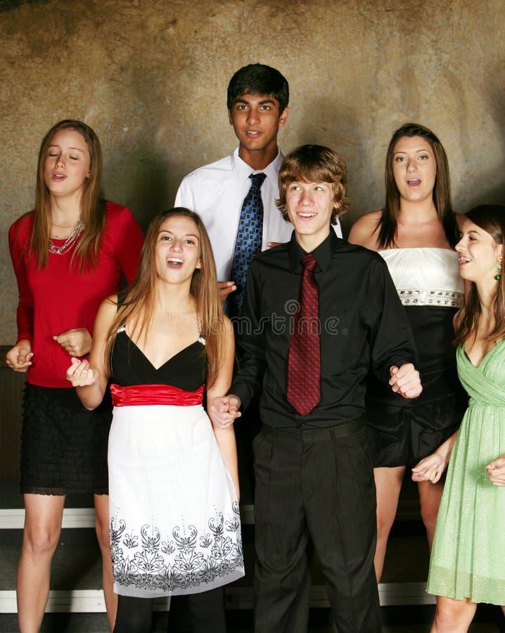 Diverse Teens Singing Stock Photo