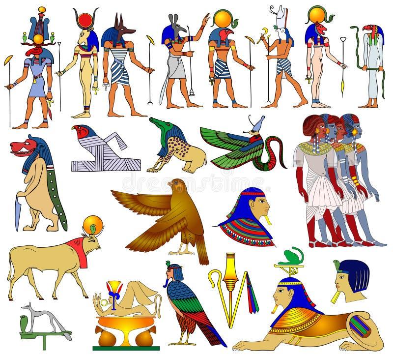 Diverse thema's van oud Egypte -   vector illustratie