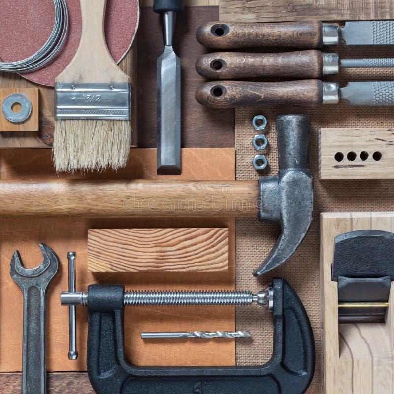 Diverse timmerwerk en DIY-hulpmiddelen royalty-vrije stock foto's