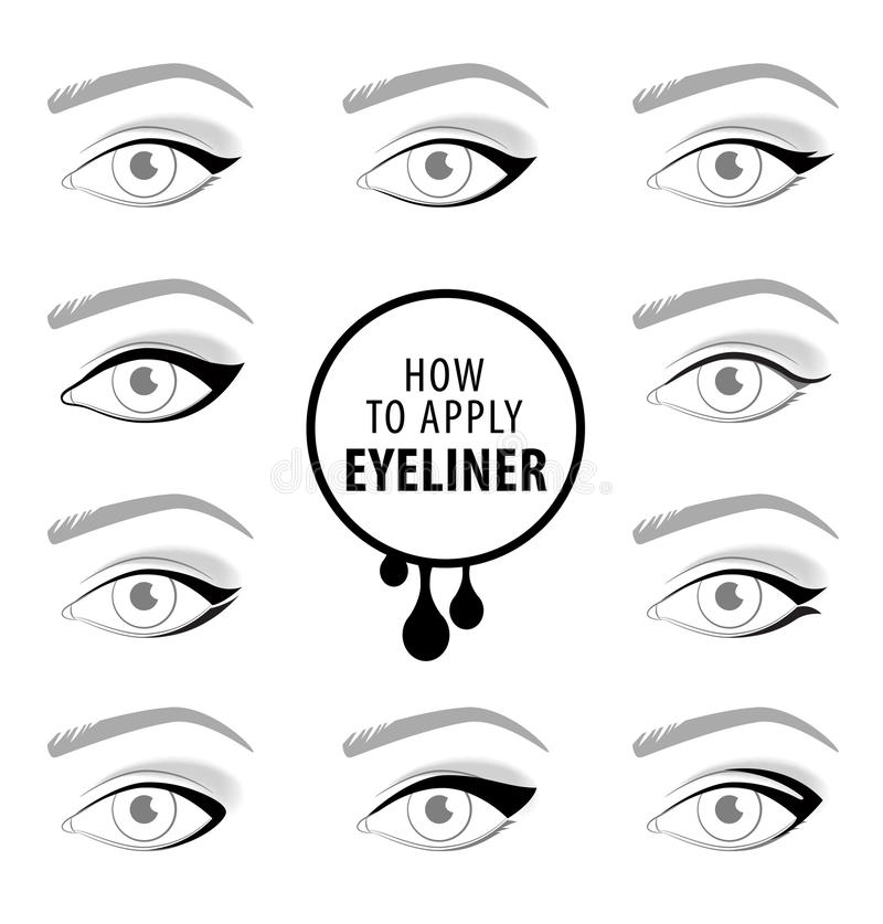 Diverse types van eyeliner, vectorreeks vector illustratie