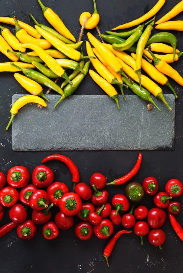 Diverse types van het kadergrens van de Spaanse peperpeper stock afbeelding